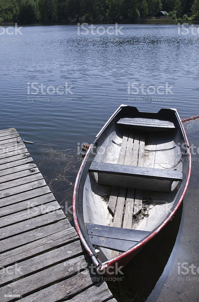 Rowboat in lake royalty-free stock photo