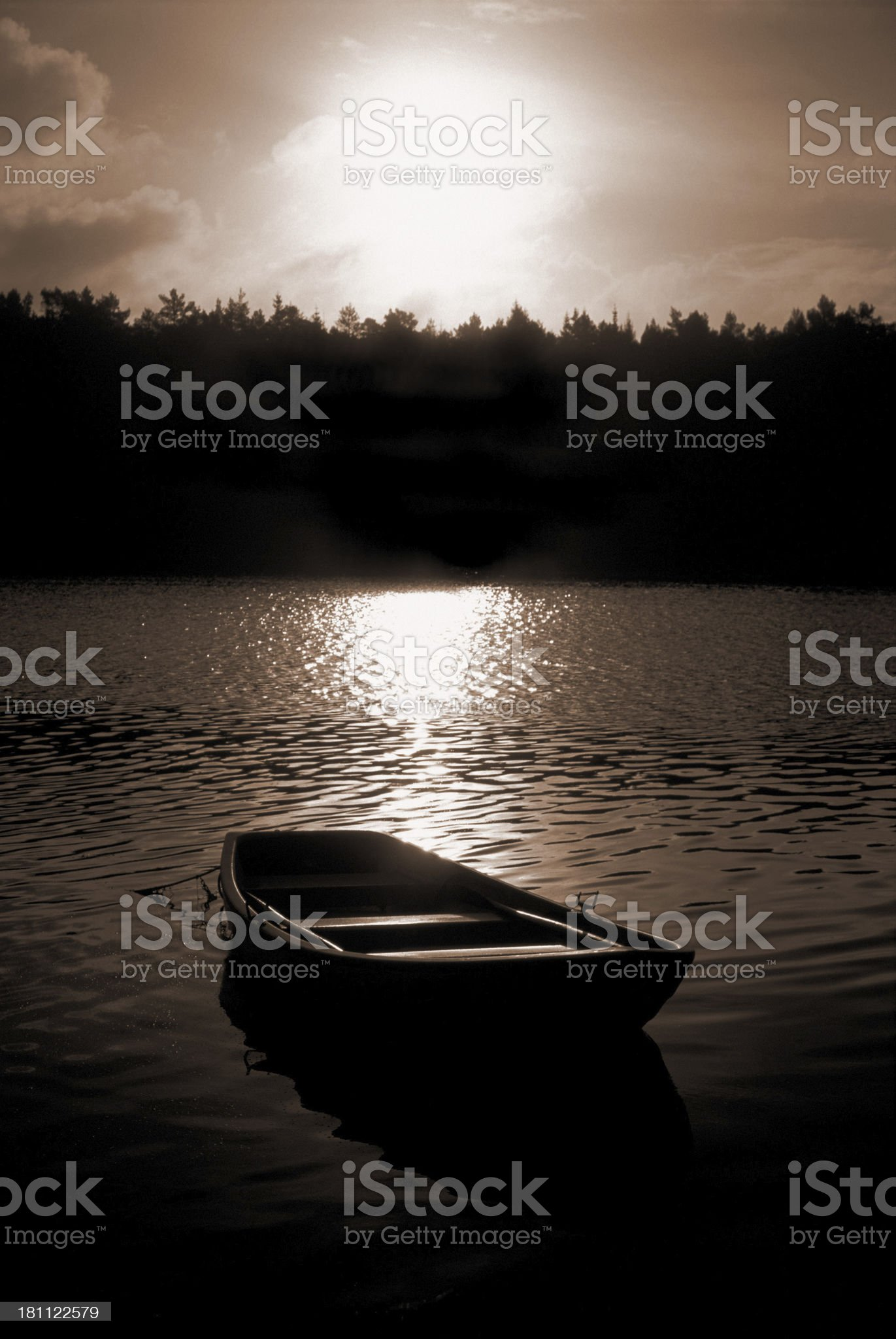 Rowboat in sunset royalty-free stock photo