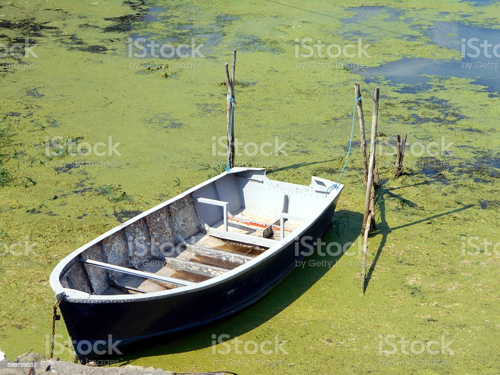 Rowboat in the old rural marina stock photo