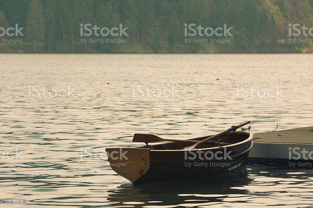 Rowboat on a lake royalty-free stock photo