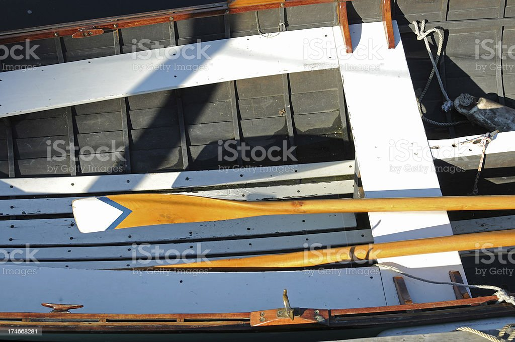 Rowboat with oars stock photo