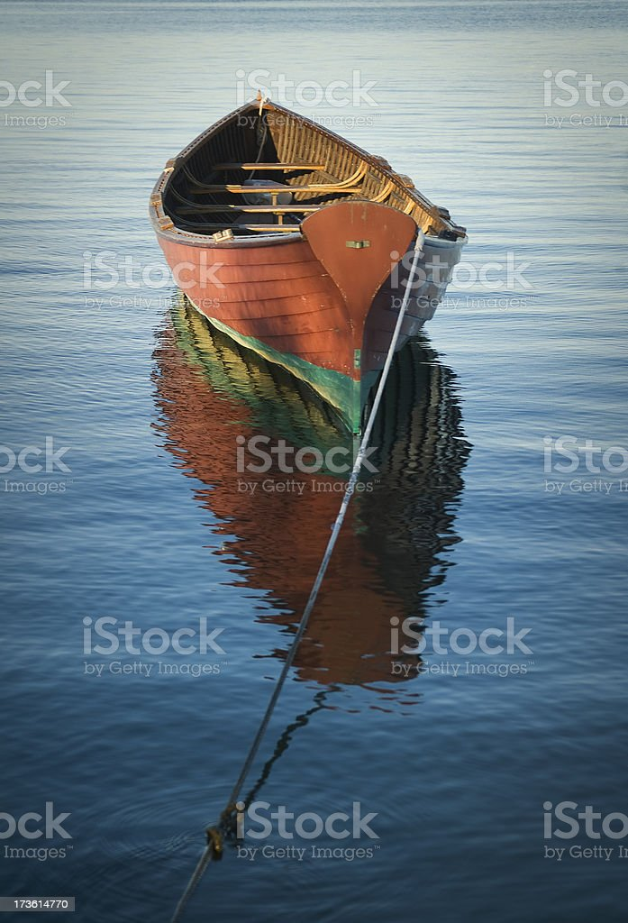 Rowboat with reflections royalty-free stock photo