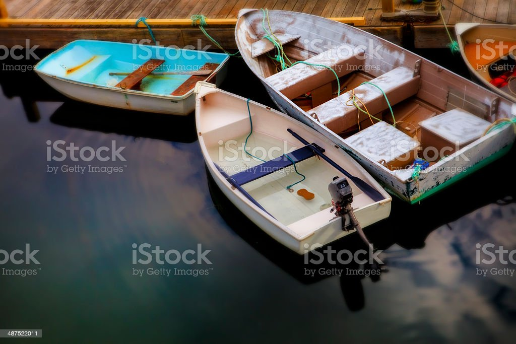 Rowboats at Bar Harbor, Maine stock photo