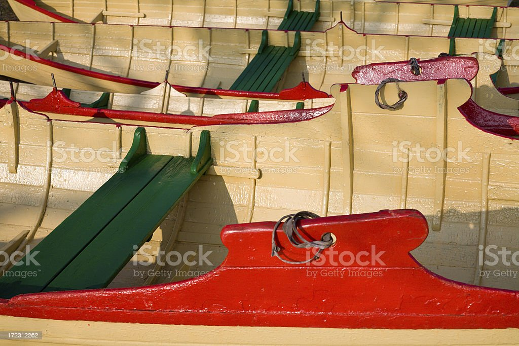 Rowboats in a row royalty-free stock photo