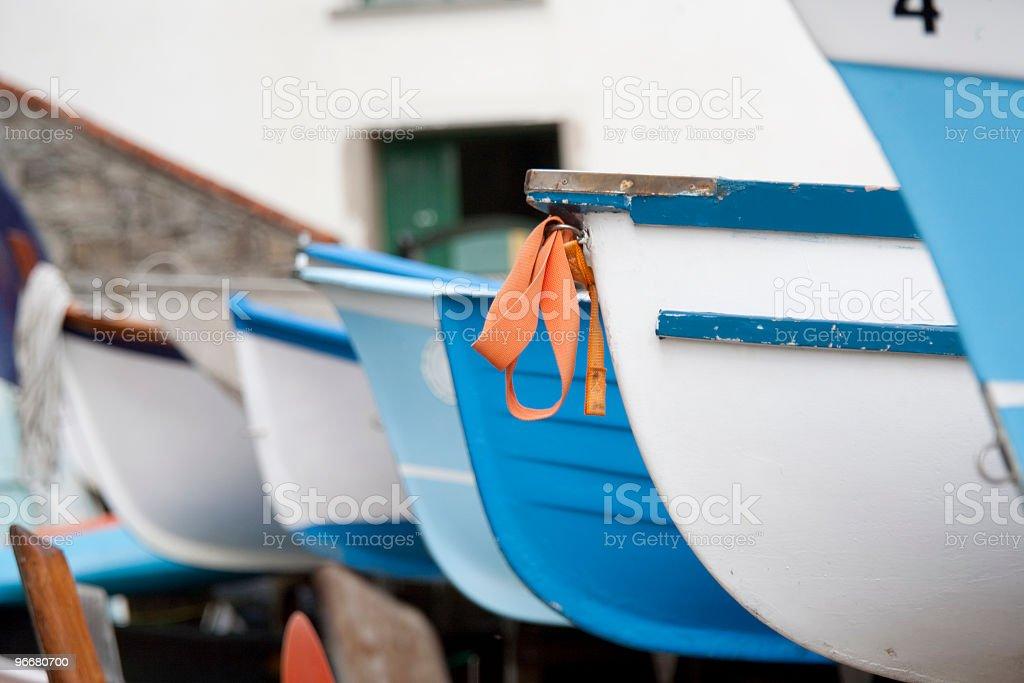 Rowboats line stock photo