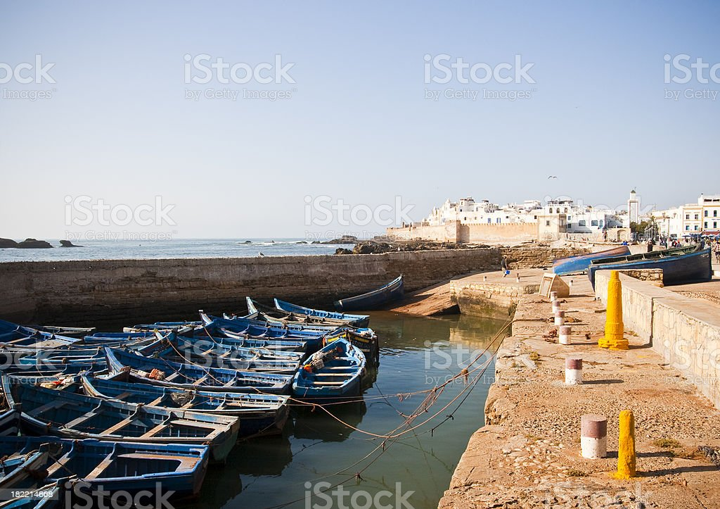 Rowboats moored at the Port of Essaouira stock photo