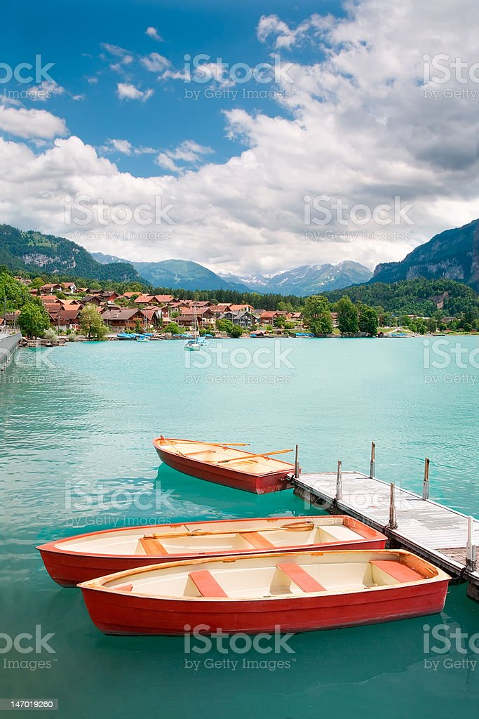 Rowboats on Lake Brienz, Berne Canton, Switzerland stock photo