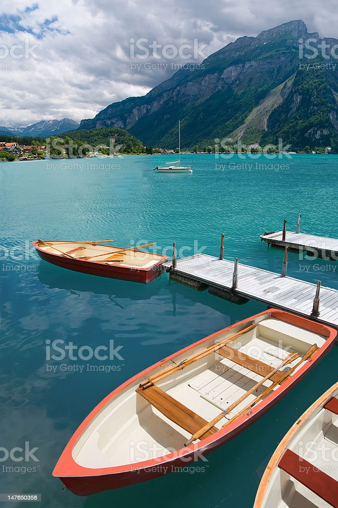 Rowboats on Lake Brienz, Berne Canton, Switzerland royalty-free stock photo