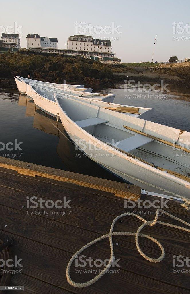 Rowboats on Star Island stock photo