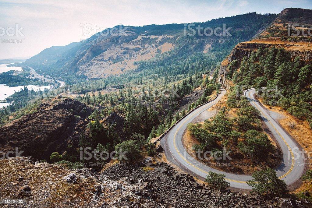 Rowena crest curve road in Oregon stock photo