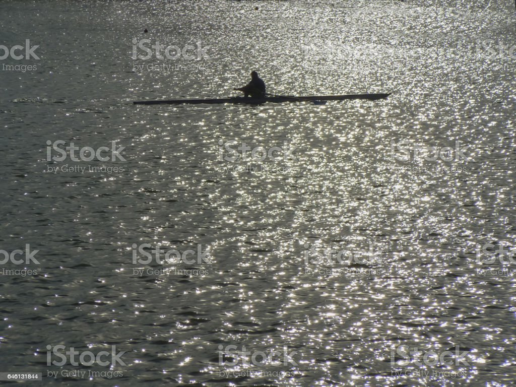 A rower in a lake stock photo