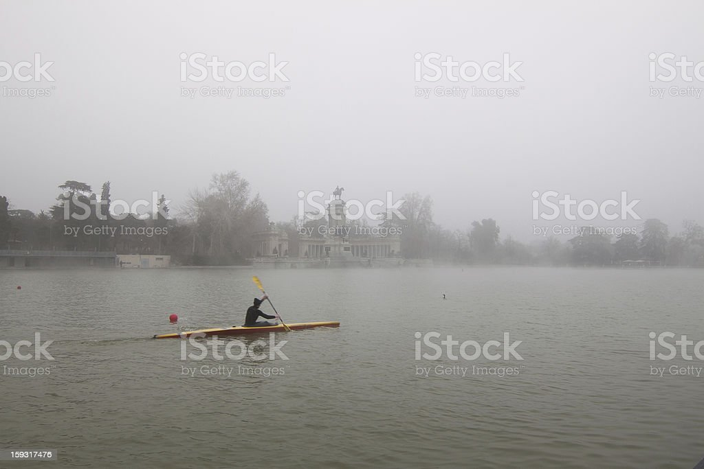 Rower in winter royalty-free stock photo