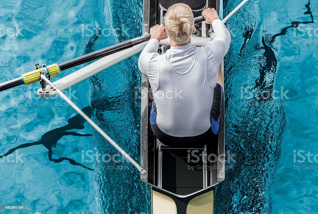 Rower top view stock photo