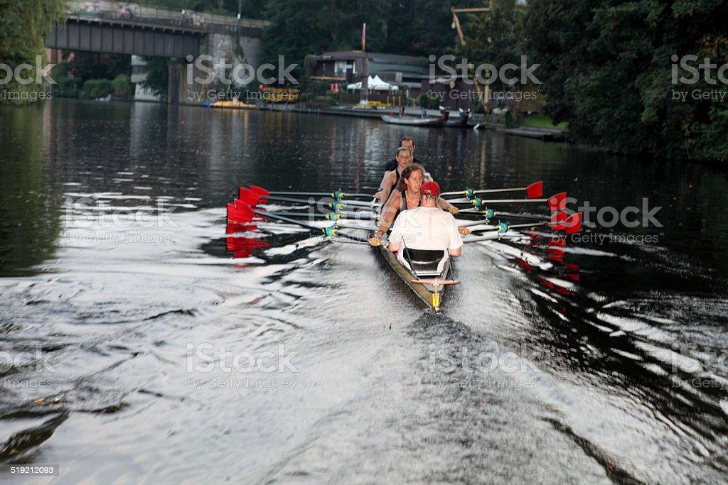 rower with coxswain stock photo