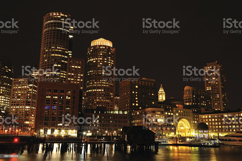 Rowes Wharf at Night royalty-free stock photo