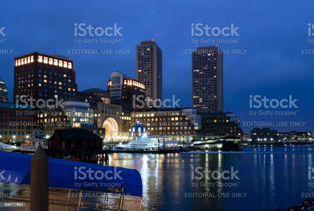 Rowes Wharf before dawn stock photo
