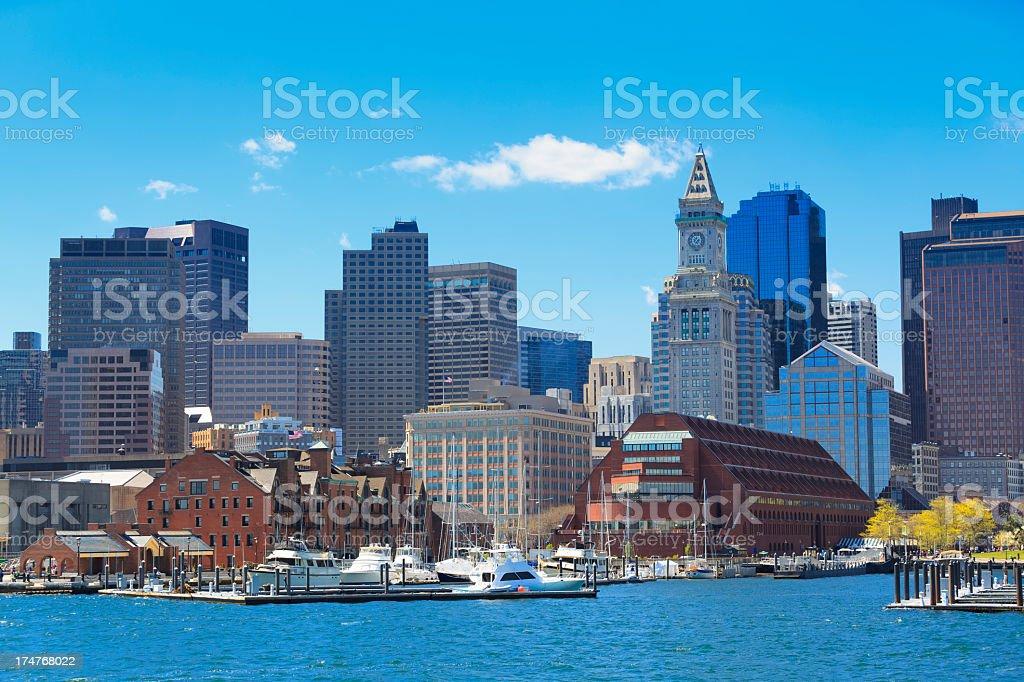 Rowe's wharf marina in Boston stock photo