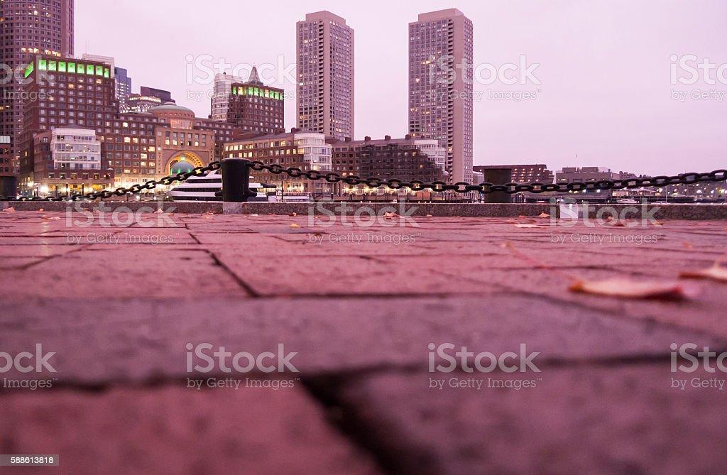 Rowes Wharf view across bricks stock photo