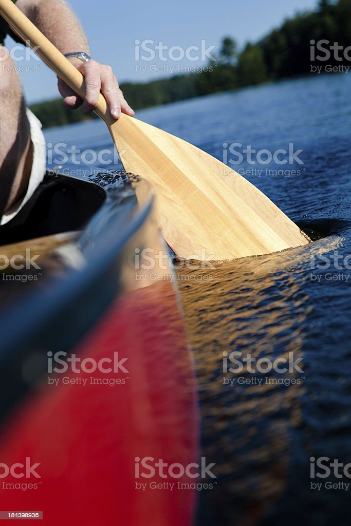 rowing a canoe royalty-free stock photo