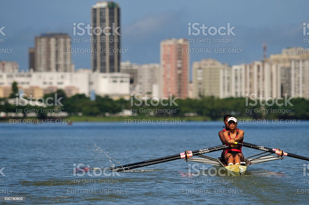 Rowing at Lagoon, Rio de Janeiro, Brazil stock photo