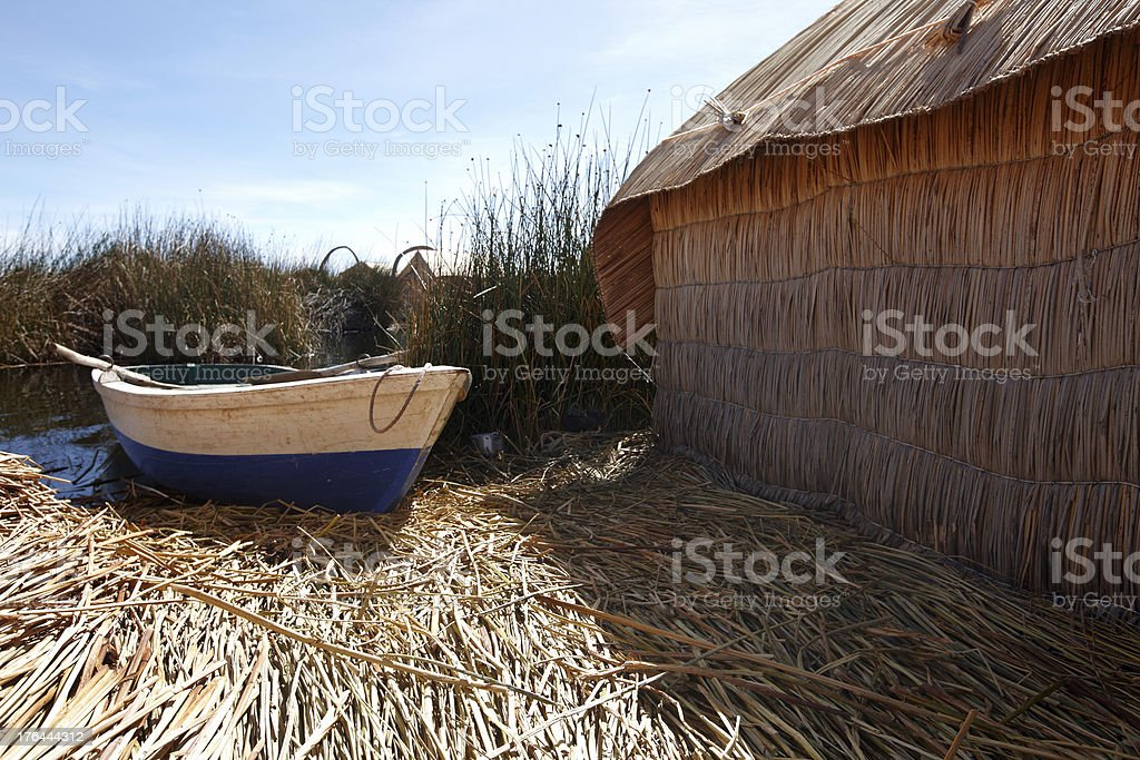 Rowing boat moored on Uros Island in Lake Titicaca royalty-free stock photo
