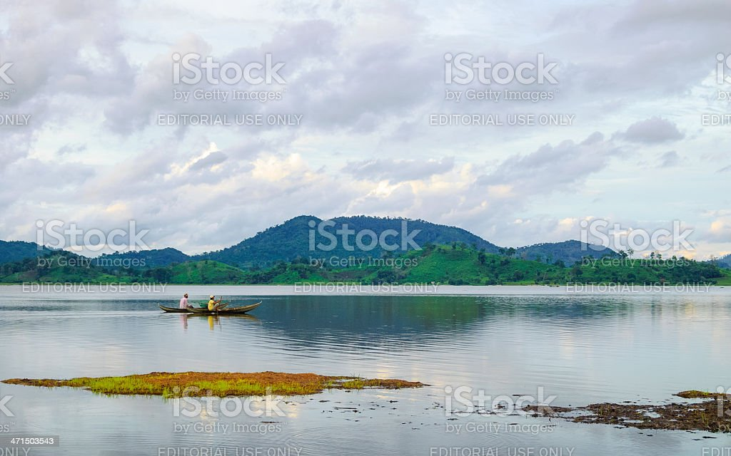 Rowing boat on Lak lake, Central Highlands of Vietnam royalty-free stock photo