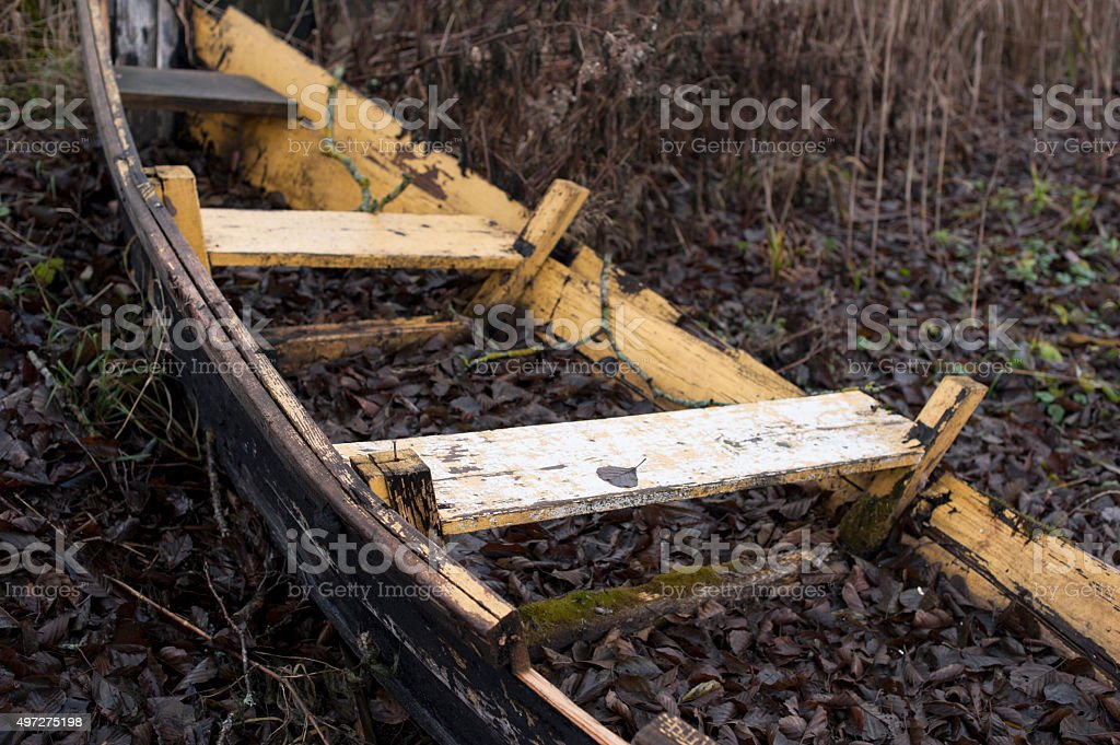 Rowing Boat Wreck stock photo
