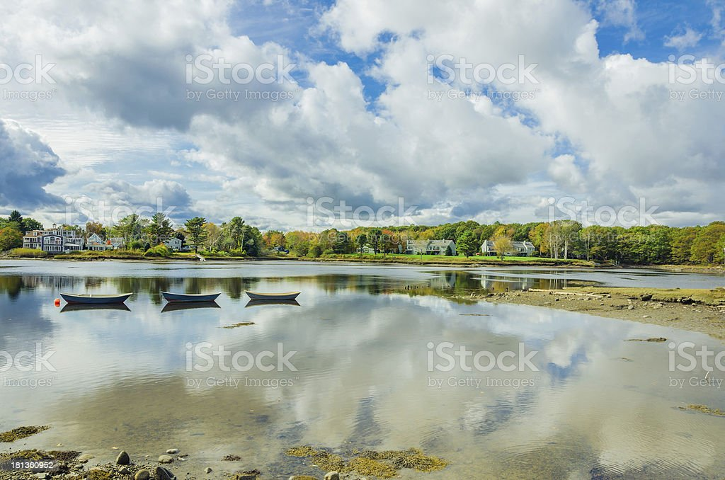 Rowing Boats and Autumnal Landscape stock photo