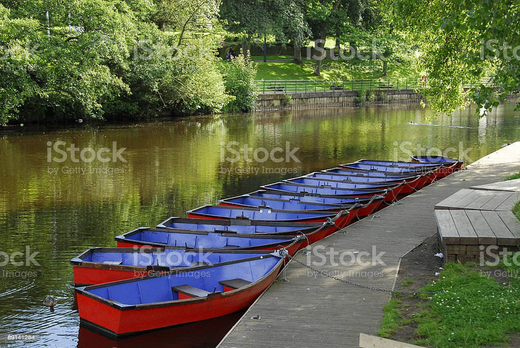 Rowing Boats and the River Wansbeck, Morpeth stock photo