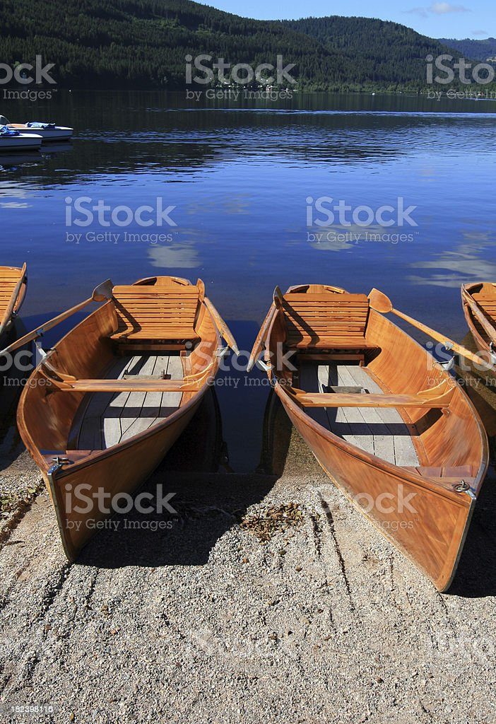 'Rowing boats for hire in Titisee, Germany' stock photo