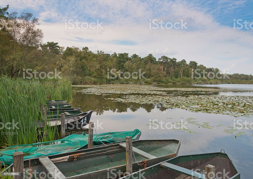 Rowing boats in a small lake in Netherlands stock photo