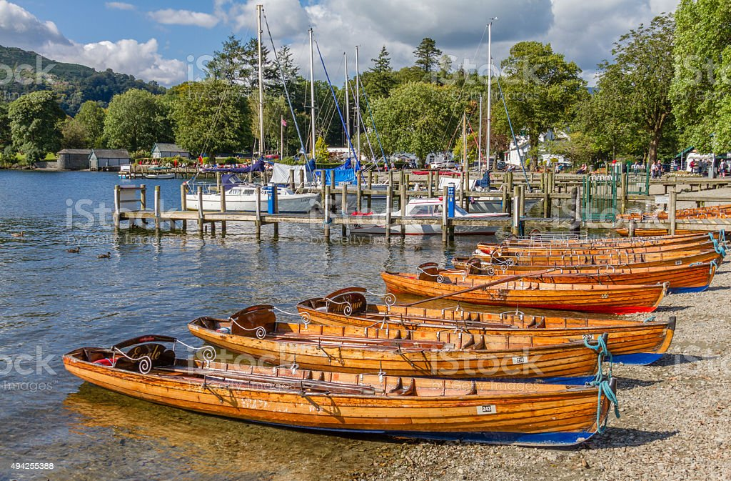 Rowing boats in Ambleside on Lake Windermere, Cumbria stock photo