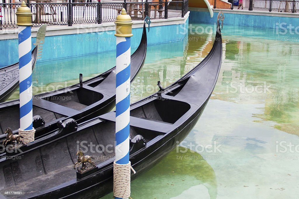 Rowing boats moored in the harbor royalty-free stock photo