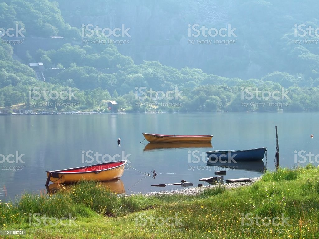 Rowing boats on LLyn Padarn stock photo