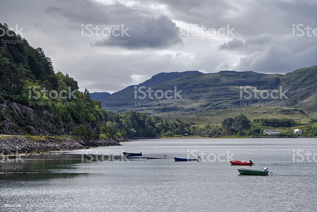 Rowing boats on Loch Torridon royalty-free stock photo
