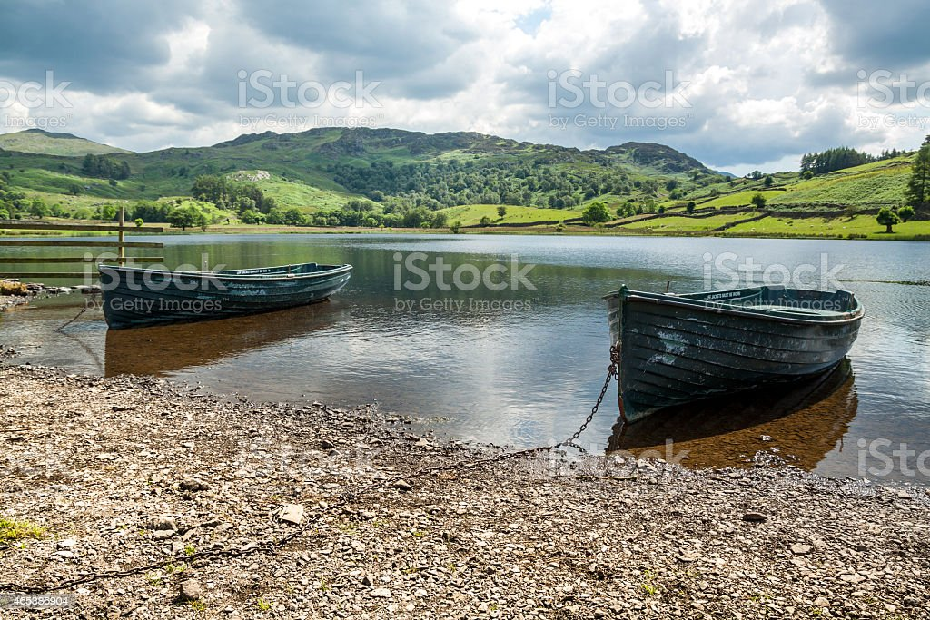 Rowing Boats on Watendlath Tarn stock photo