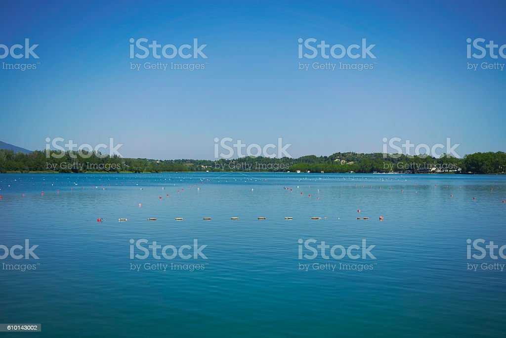 Rowing course on a lake stock photo