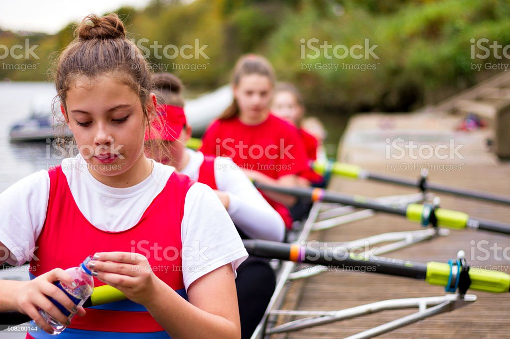 Rowing is Thirsty Work! stock photo