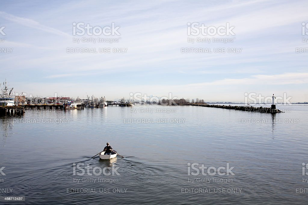 Rowing On Fraser River stock photo