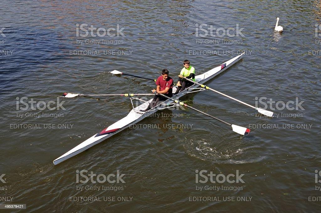 Rowing on River Avon, Stratford-upon-Avon. stock photo