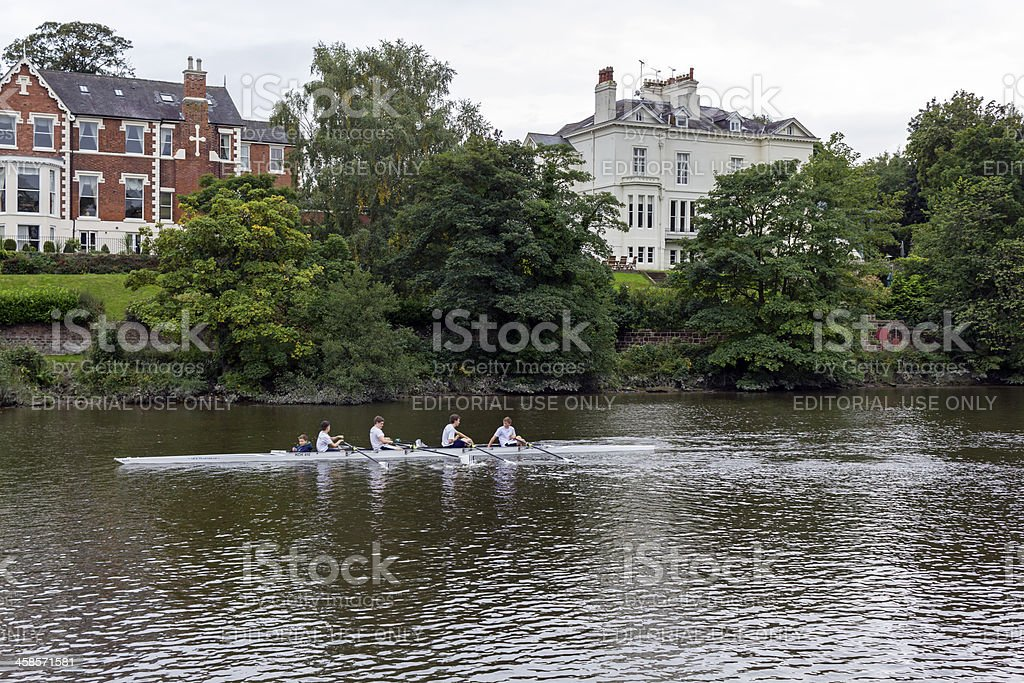 Rowing on the river dee,  Chester stock photo
