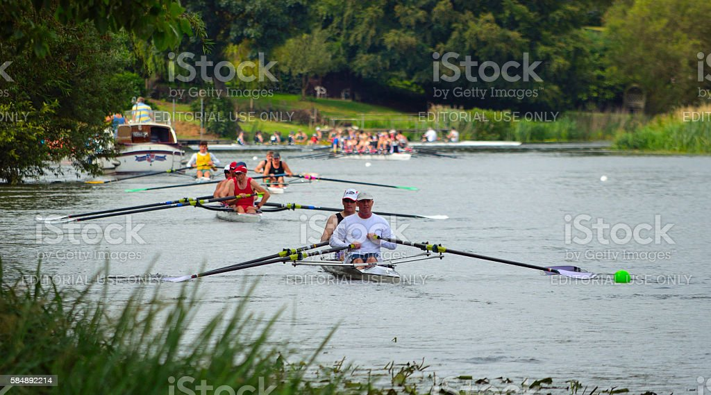 Rowing on the River Ouse stock photo
