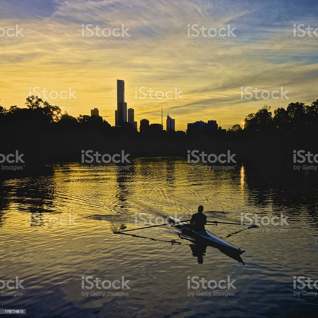Rowing on the Yarra in Melbourne stock photo