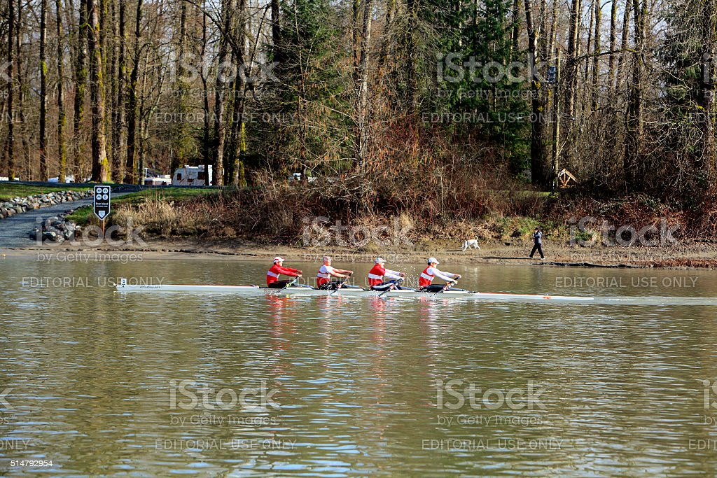 Rowing Past Brae Island Campground Fort Langley BC stock photo