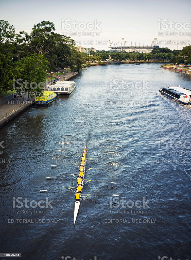 Rowing Team in Melbourne, Australia royalty-free stock photo