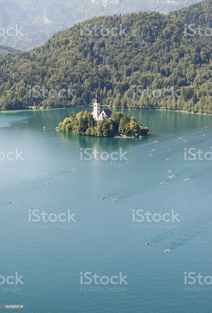 Rowing Teams in Lake Bled Slovenia royalty-free stock photo