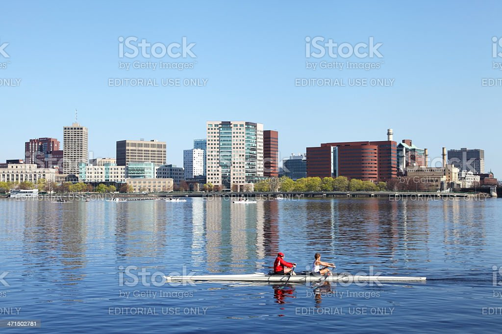 Rowing the Charles River royalty-free stock photo
