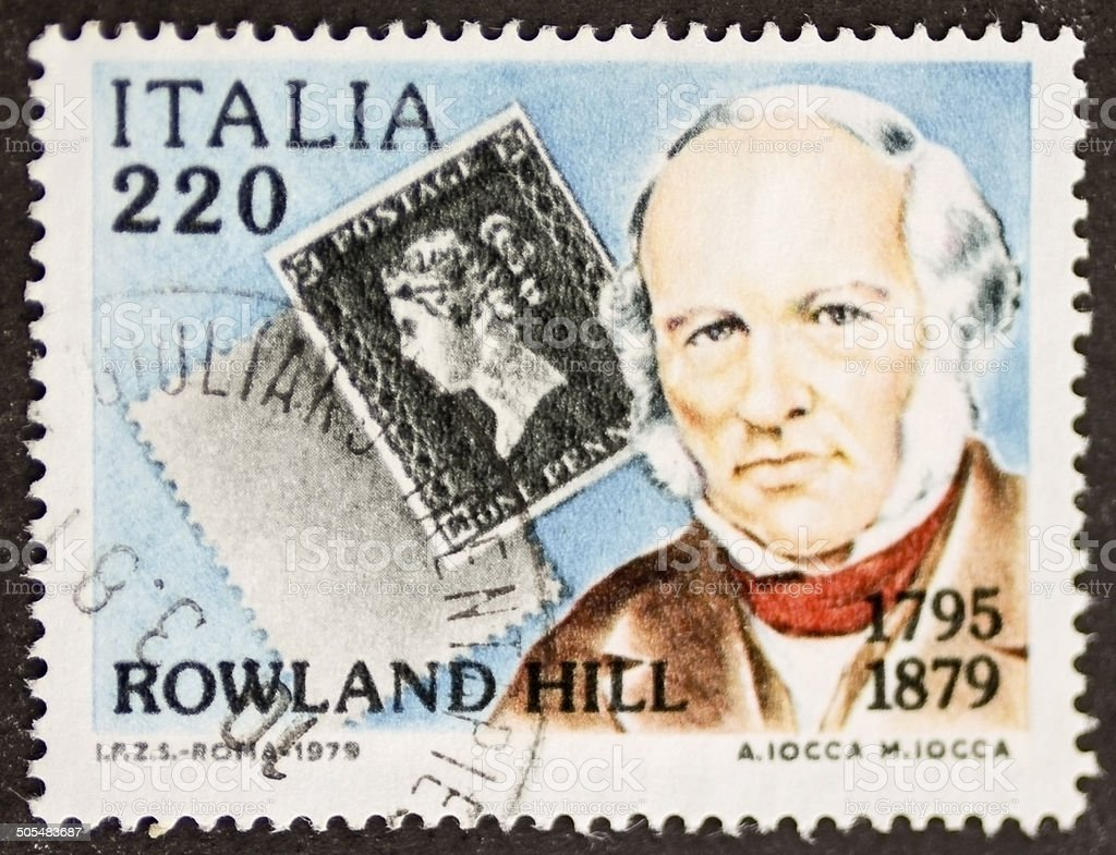 Rowland Hill postage stamp stock photo