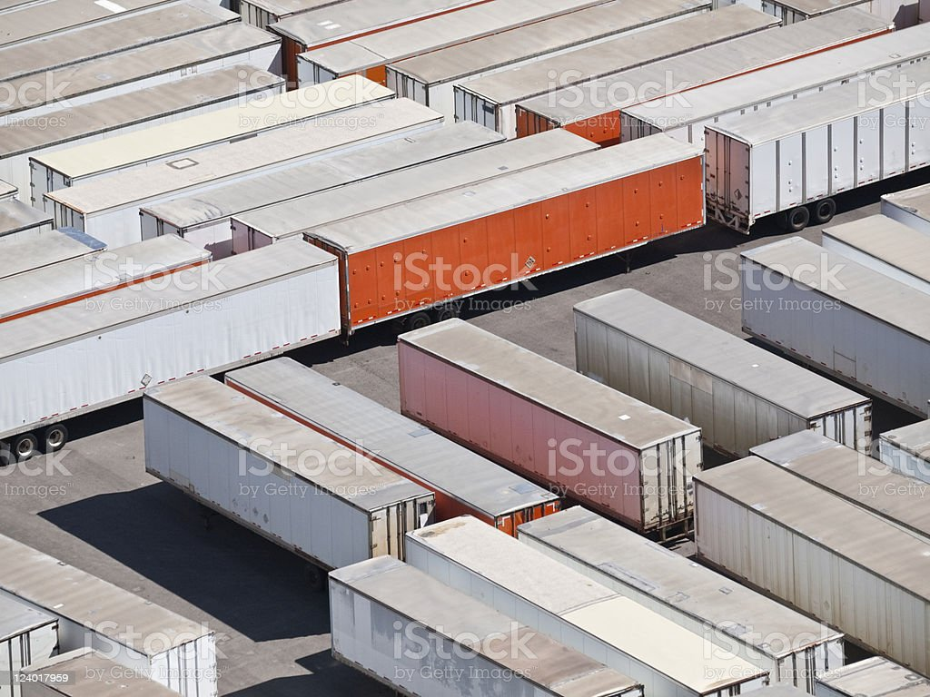 Rows and rows of trailers sitting in a park stock photo