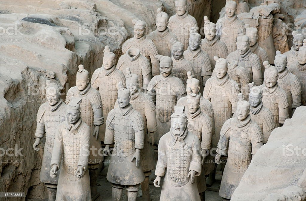Rows of Ancient Terra Cotta Warriors royalty-free stock photo